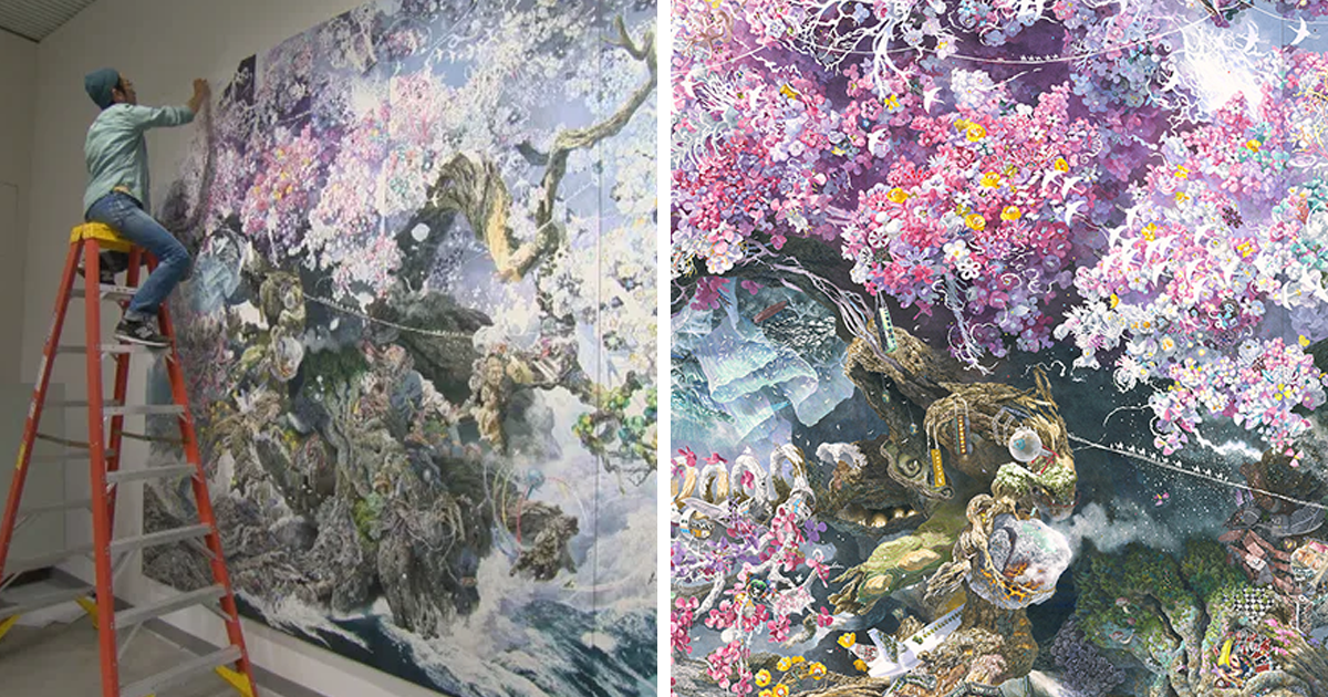 Japanese Artist Spends Years Creating Incredibly Detailed Ink Drawings That Feature Entire Worlds