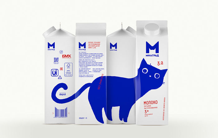 Russian Designer Gave These 4 Milk Product Packages Adorable Makeovers