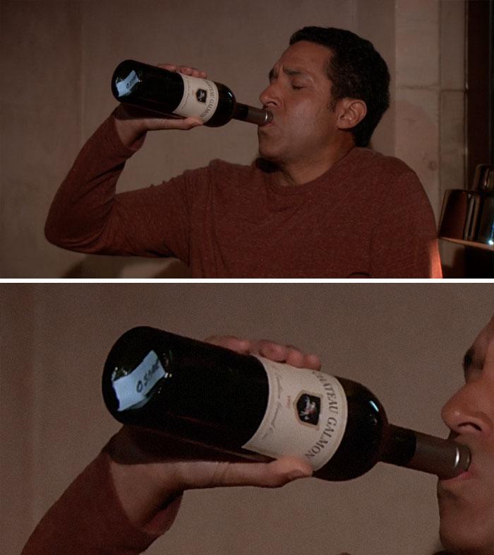 Oscar Is Drinking From A Prop Wine Bottle