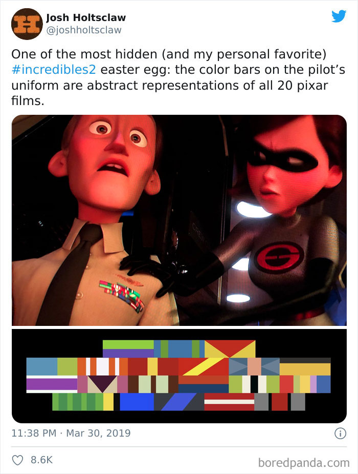 In Incredibles 2 (2018), The Pilot's Uniform Has Ribbons/Bars That Represent The Color Schemes Of All The Other Pixar Movies To Date