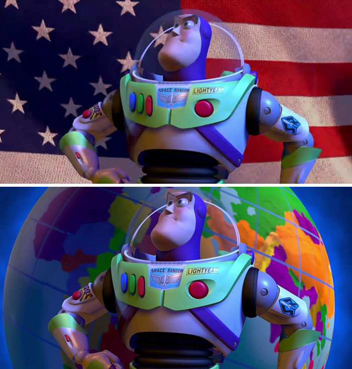 In Toy Story 2 (1999) , The American Flag Is Replaced By The Globe In Rest Of The World