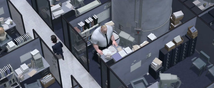 Bob Par In The Incredibles (2004) Has Most Of His Cubical Taken Up By A Pillar Which Is Why It's So Cramped, I Can't Believe I Never Noticed This Before