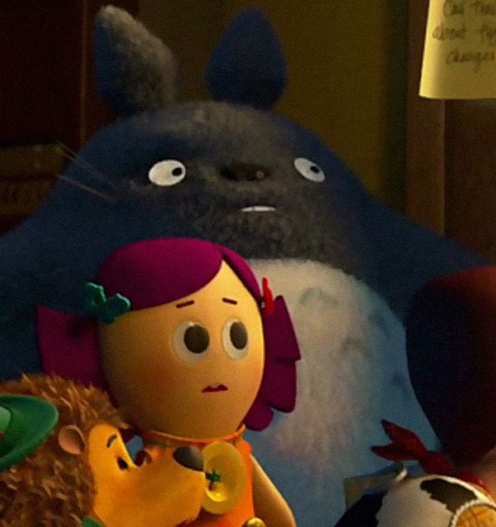 """In The 2010 Film By Pixar """"Toy Story 3,"""" One Of The Toys Featured Is A Stuffed Totoro Doll From The Studio Ghibli Film """"My Neighbor Totoro"""""""