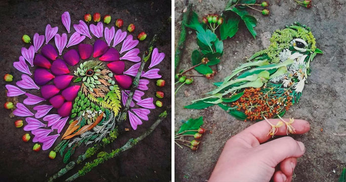 Artist Uses Leaves And Flowers To Create Mesmerizing Bird Portraits (30 Pics)