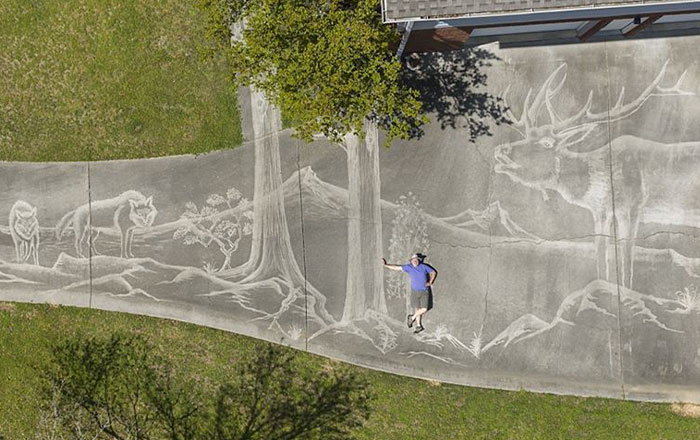 Photographer Uses A Pressure Washer To Create A Beautiful Mural On His Driveway