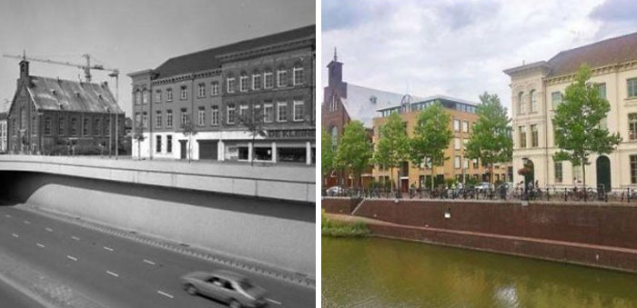 Utrecht, Netherlands 1982 vs. 2020. They Converted The Highway To A Canal