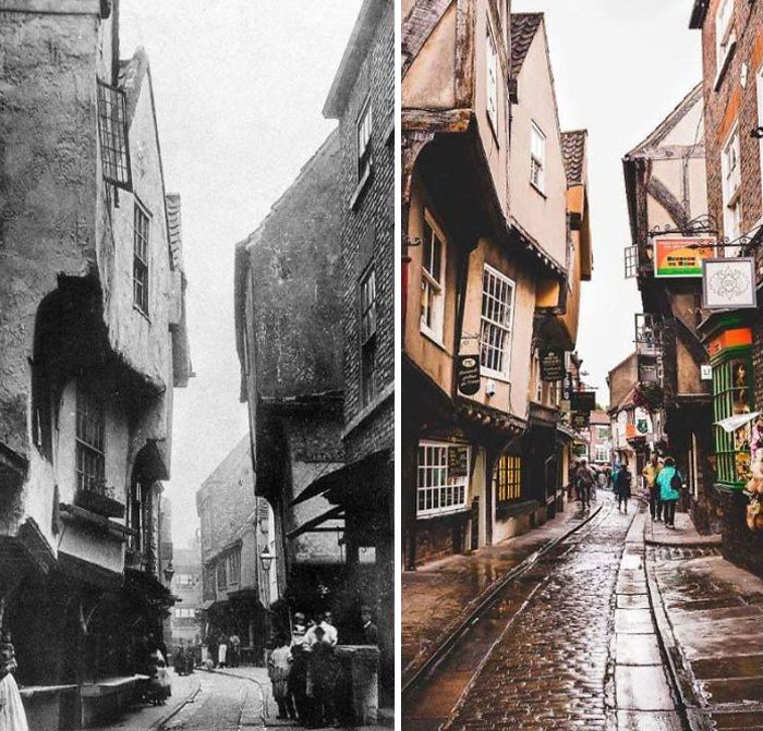 The Shambles In York (UK) Inspiration For Diagon Alley From Harry Potter. Late 1800s And Today