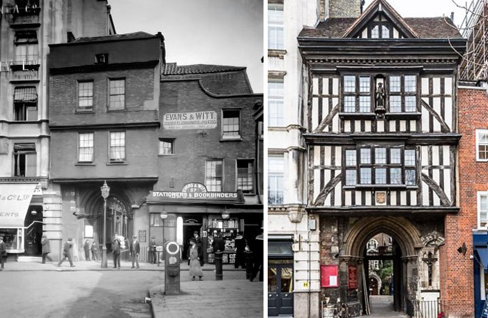 The Changing Face Of St Bartholomew-The-Great's Gatehouse In Smithfield, Which Was Built In 1595 And Some Point Bricked Over. It Was Bombed During A Ww1 Zeppelin Raid Knocking Off Some Bricks Revealing Its Tudor Half-Timbered Facade. It Was Restored To How It Looks Today. 1916 vs. Now