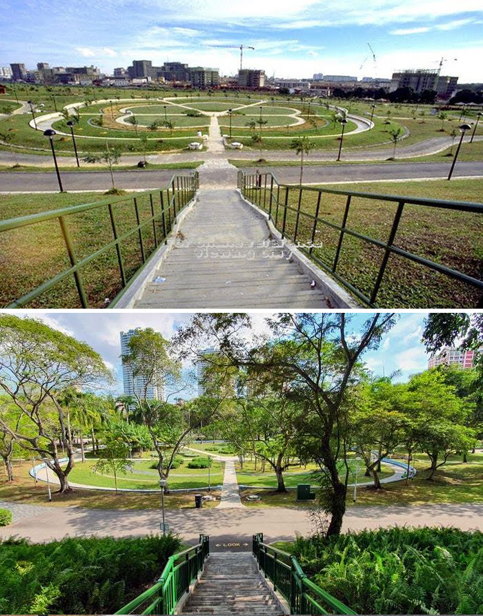 Bishan Park, 30 Years Apart. Top Pic, 1988. Bottom Pic, 2020
