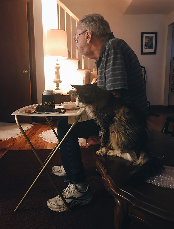 "My Grampie And His 20-Year-Old Cat/Sidekick Elvis. As My Grampie Says, ""We're Just Two Old Men Hanging Out"". This Picture Makes Me Happy And Sad All At Once"