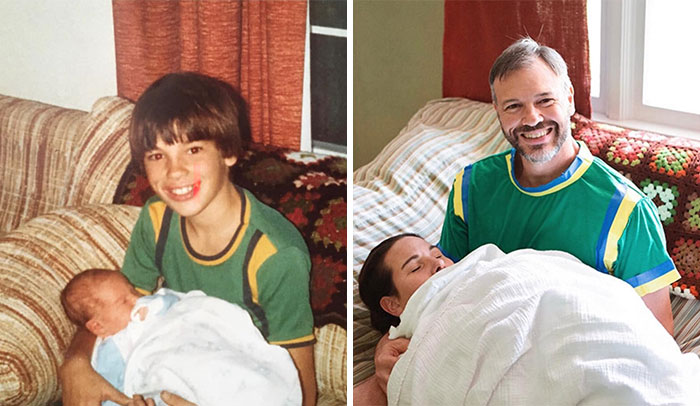 Our Mom Turned 70 And My Brother And I Decided To Recreate Our Hilarious Childhood Photos For Her Birthday