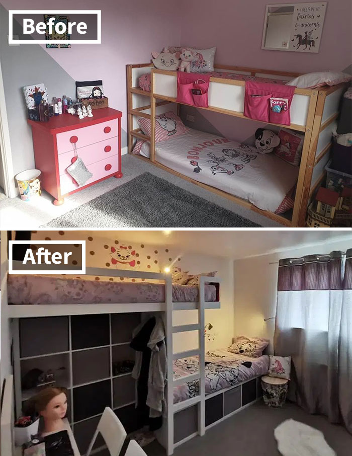 Mom Redoes The Small Bedroom That Her 3 Daughters Share Ensuring Each Of Them Gets Their Own Personal Space Bored Panda