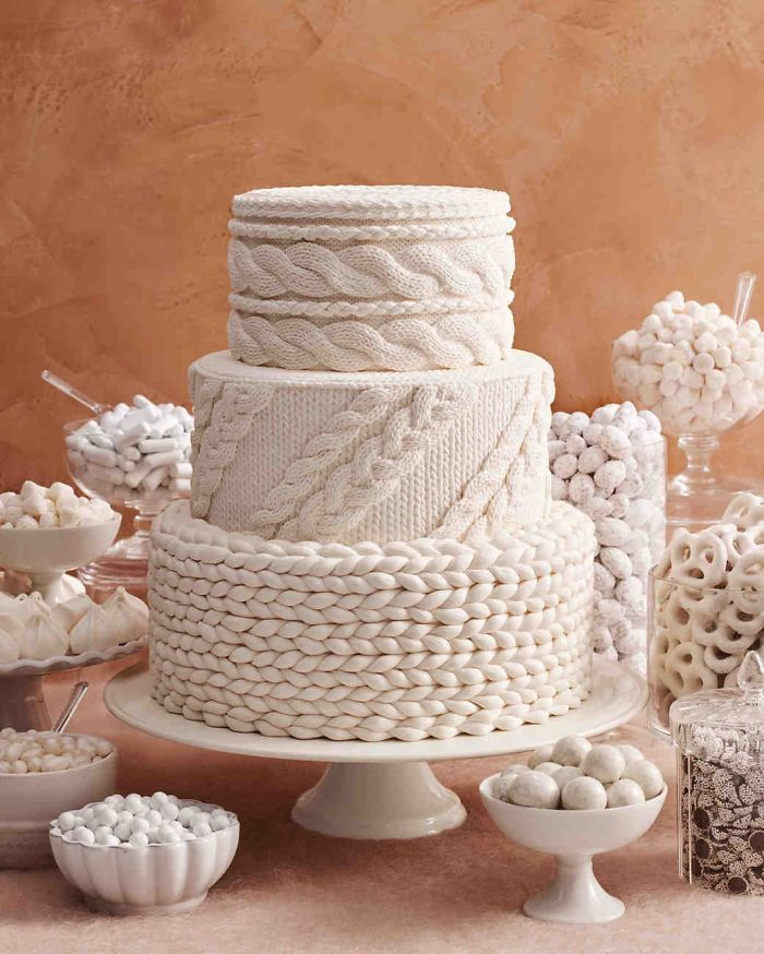 Cable Knit Wedding Cake