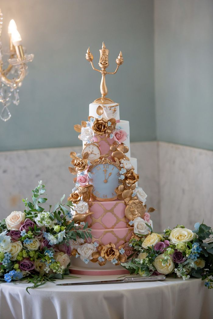 Beauty And The Beast Themed Wedding Cake