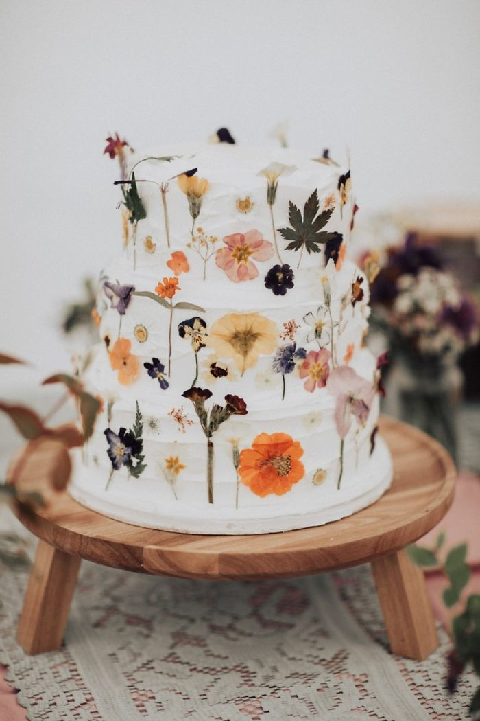 Wedding Cake With Pressed On Flowers