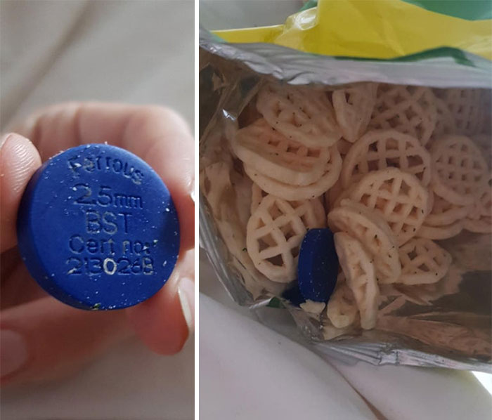 """I Found This Blue Disc In A Packet Of Sour Cream Crisps. Its Has The Words """"Ferrous 25mm Bst, Cert Number 213026b"""" On It. What Is This Thing?"""