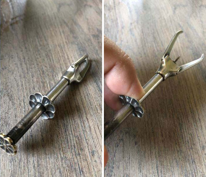 A Silver Utensil. When You Press The Button On One End The Grips Open. What Is This Thing?