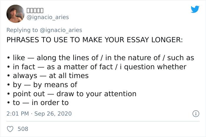 Phrases to make essay longer