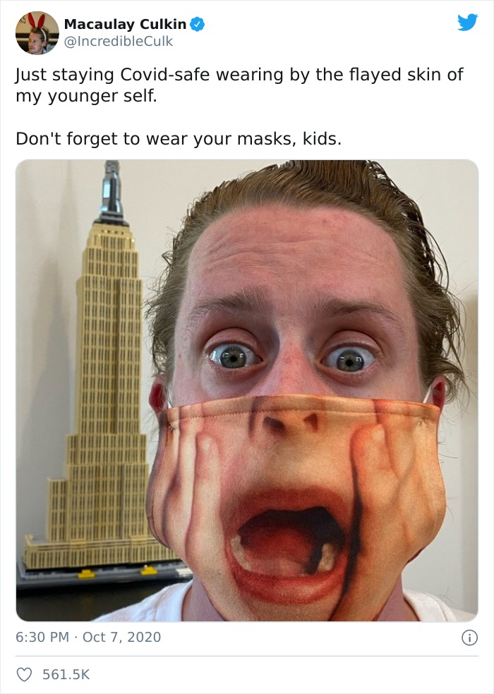 Macaulay Culkin Shares A PSA In His Newest Viral Tweet By Sporting The Most Macaulay Culkin-Like Face Masks