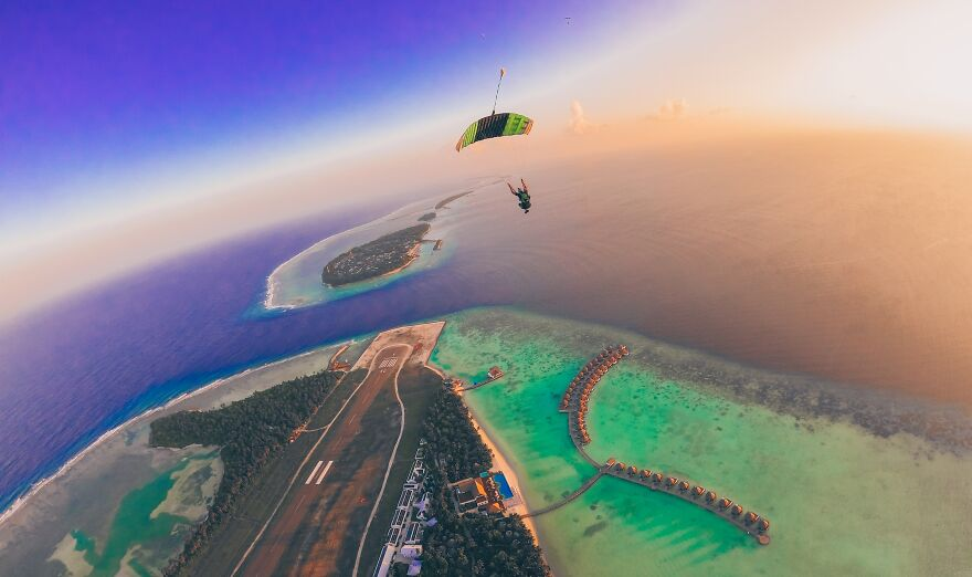 The Maldives: Skydiver Photographer Perspective (Sports/Extreme Sports Category, 1st Place)