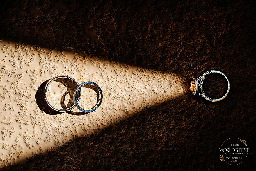 This Clever Use Of Light With Wedding Rings By Tisman Photography