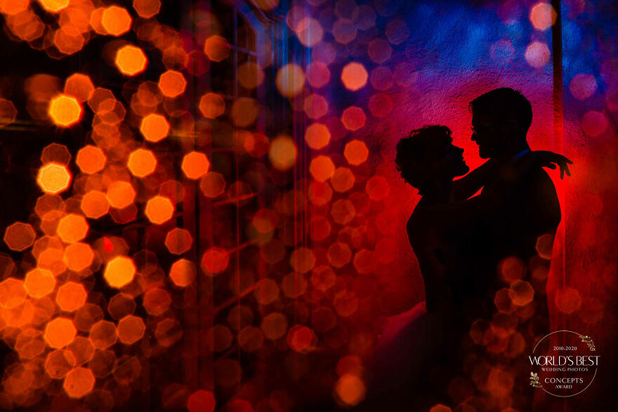 This Magical Burst Of Color And Light, Framing A Couple's Silhouette, By Jos & Tree