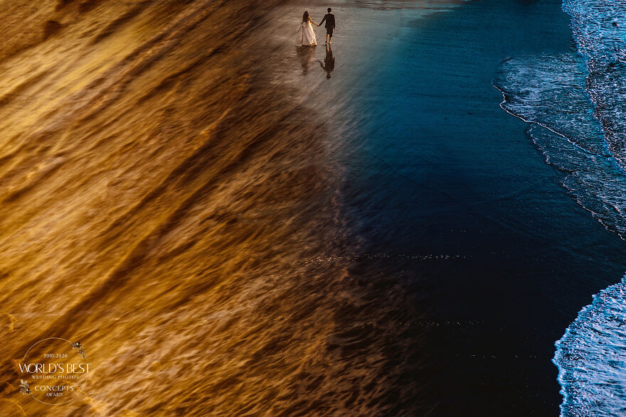 This Epic Golden Hour Frame Of Sand, Sea And A Couple In Love By Davina Plus Daniel