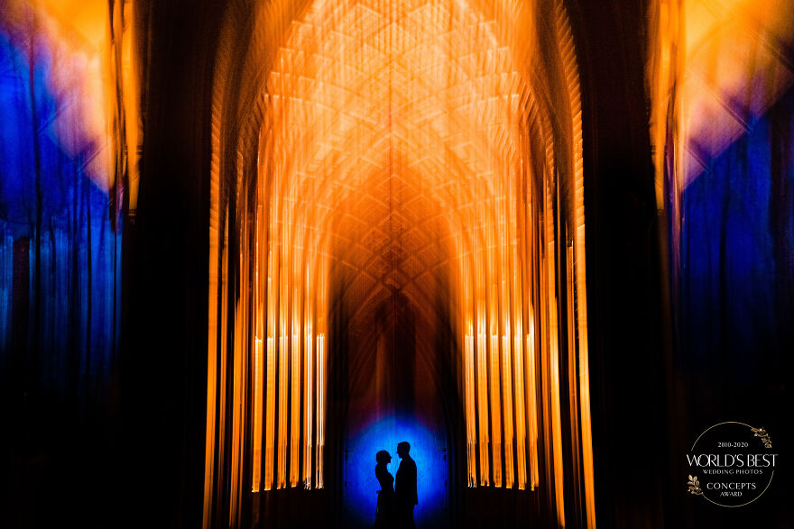 This Silhouette In Front Of A Colorful Cathedral By Vinson Images