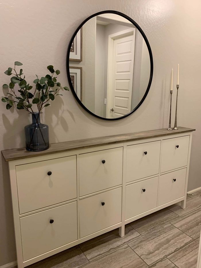 For Our Narrow Entryway, We Combined Two IKEA Hemnes Shoe Cabinets And Replaced The Original Tops With A Stained Wood Top. I Am So Happy With How This Hack Turned Out!