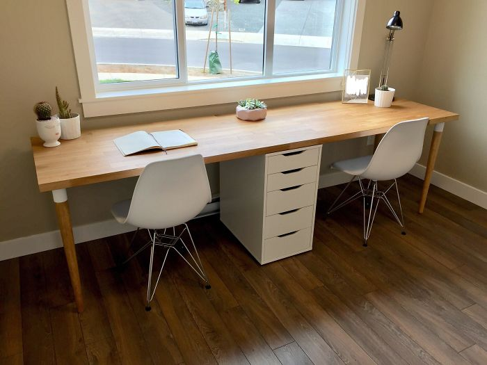 """Finished Our 98"""" Karlby Counter Top Desk! Pretty Happy With The Results."""