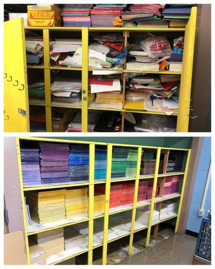 I'm An Art Teacher And I Moved To A New School This Past Summer. The Previous Teacher Did Not Share My Love Of Organization. Behold The Before And After Of My Paper Closet!