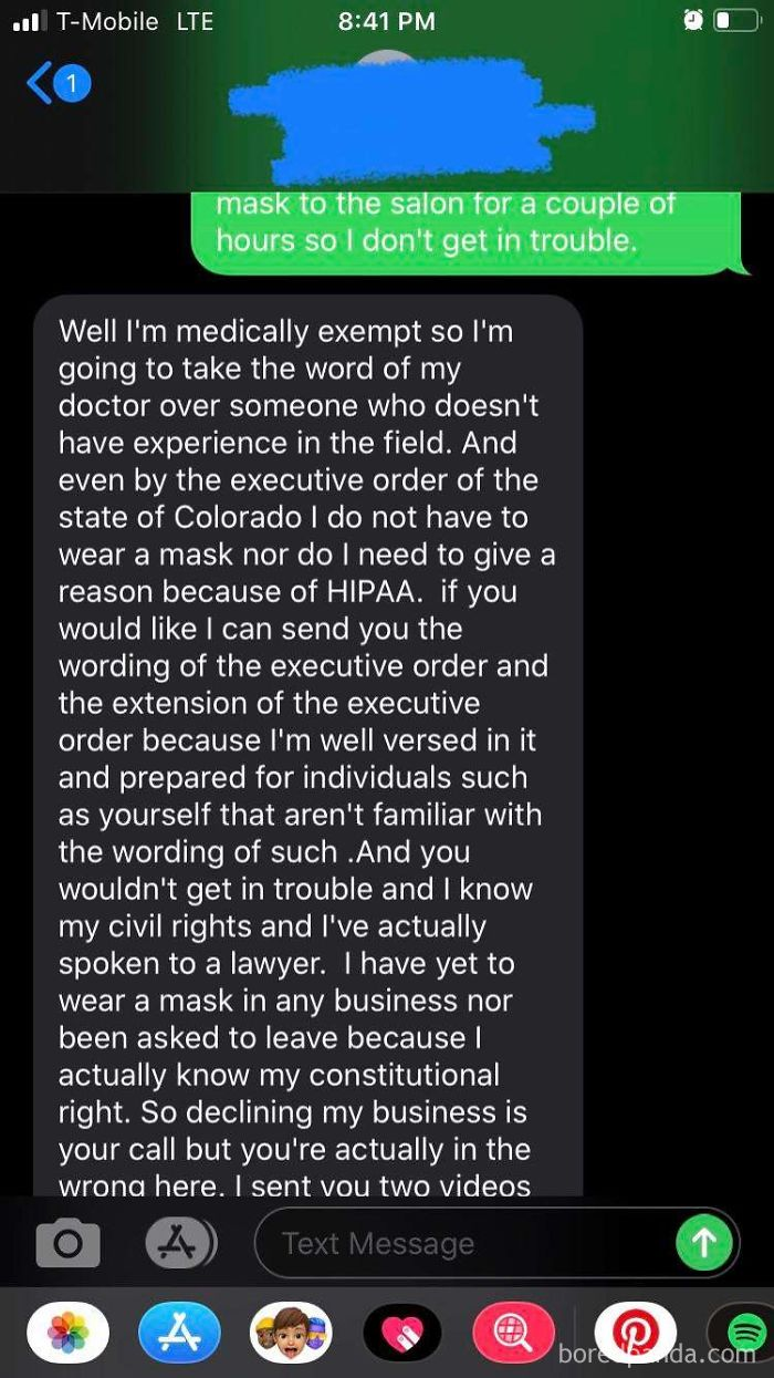 I'm A Hair Stylist. I Have A Client That Keeps Trying To Get An Appointment With Me But Refuses To Wear A Mask. Her Response Tonight