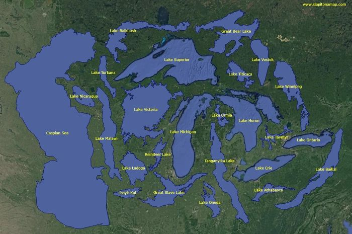 World's 25 Largest Lakes Side By Side