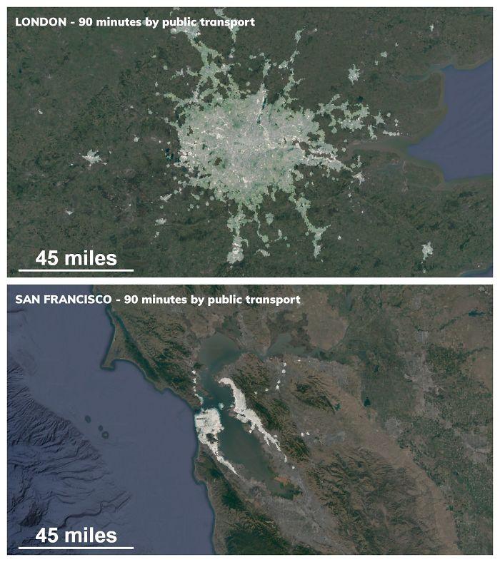 90 Minute Public Transit Commuter Zone For London vs. San Francisco