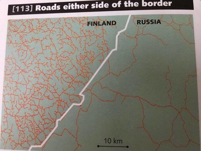 Carreteras a ambos lados de la frontera de Finlandia y Rusia