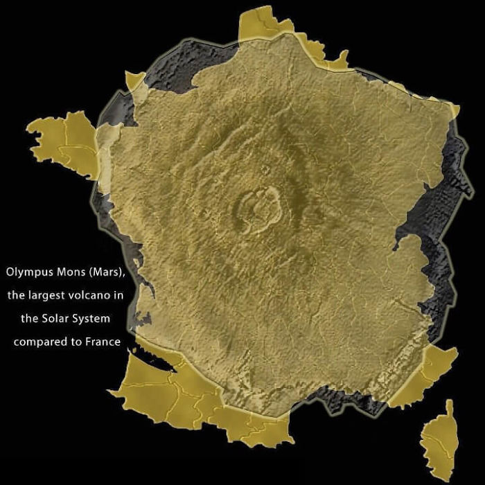 Olympus Mons Compared To France