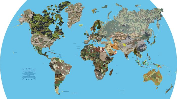 Map Of Almost All Countries And Their Respective Camo Patterns