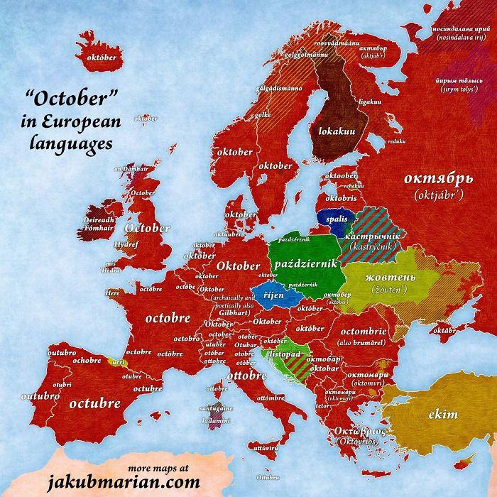 'October' In European Languages