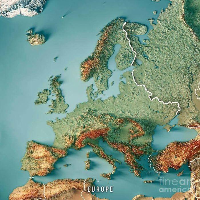 Mapa topográfico en 3D de Europa