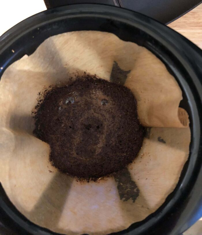 This Morning's Coffee Bloom Looked Like A Surprised Bear