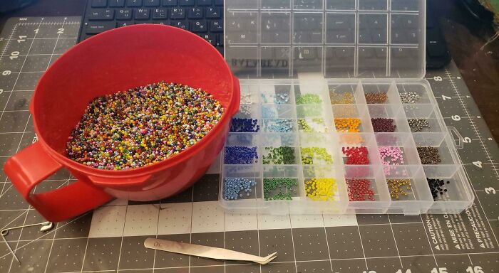 I Spilled 50,000 2mm Glass Beads On The Ground And I Now Have To Sort Them By Hand