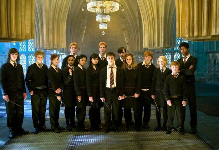 In Harry Potter And The Order Of The Phoenix (2007). Dumbledore's Army: All The Girls Are Wearing Skirts Except Ginny (3rd From Left) Who Is Wearing Pants; Probably A Hand-Me-Down From Her Brothers. (Good Going Costume Department)