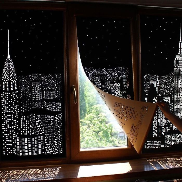 Buildings And Stars Cut Into Blackout Curtains!