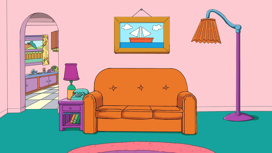 Here's What The Simpsons Interiors Would Look Like If Wes Anderson Created Them