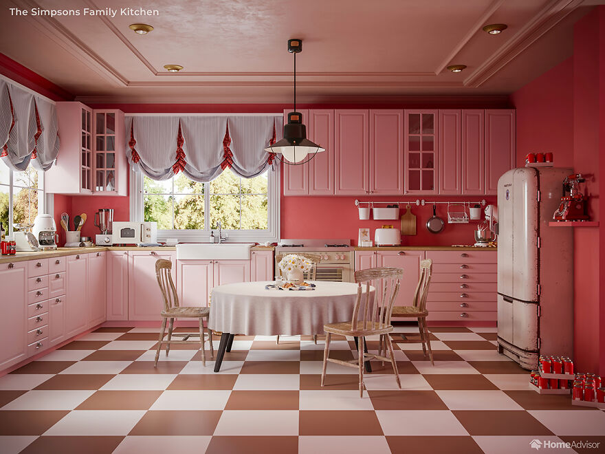 Here is What The Simpsons Interiors Would Look Like If Wes Anderson Created Them