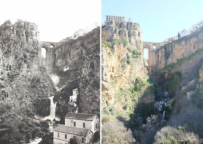 Puente Nuevo, Ronda, Andalucía, España, 1914-'16 vs. 2019