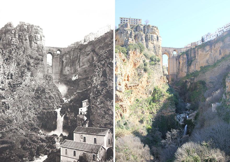 Puente Nuevo, Ronda, Andalucía, Spain, 1914-'16 vs. 2019