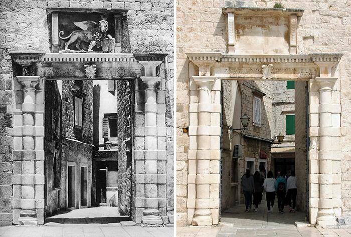 Puerta de la ciudad, Trogir, Croacia, 1926 VS 24-04-2019