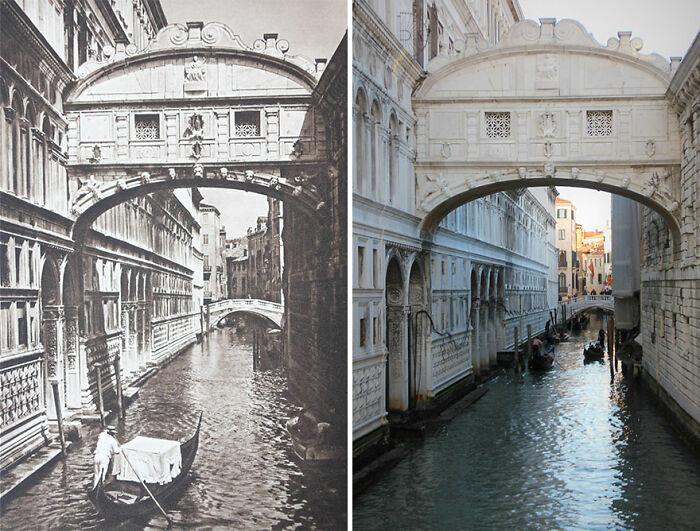 Puente de los suspiros, Venecia, Italia, 1925 vs. 2018