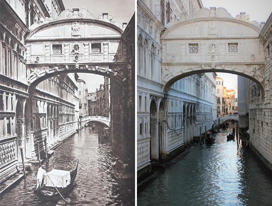 Ponte Dei Sospiri, The Bridge Of Sighs In Venice, Italy, 1925 vs. 2018